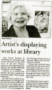 An article highlighting an exhibit of Fortner's work, n.d.