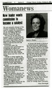 An article outlining Ronen's goals for the Chicago Commission on Women, 1989.