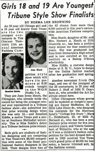 Tribune Style Show Finalists Article, 1950