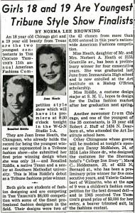 Tribune Style Show Finalists Article, 1950