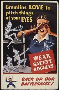 A World War II poster warning about one of the many safety hazards of the workplace.