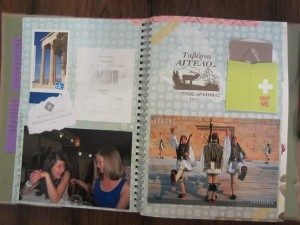 A page from my scrapbook created on my 2012 trip to Greece.