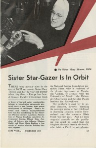 Feature on Sister Langerbeck, published in BVM Vista December 1959. The picture used for the article shows Sister in the physics laboratory on Mundelein's campus.