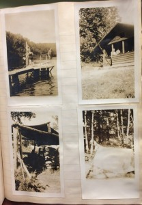 Photos from a scrapbook page showing time spent at a Girl Scout camp in the U.S.