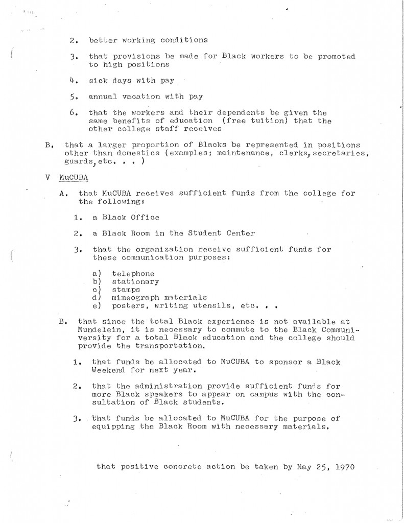 "Document Source: ""Demands"" Folder F.8.13.a. Mundelein College Collection. Women and Leadership Archives."