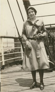 Patricia, in uniform, on a boat during her international Girl Scout trip in 1932