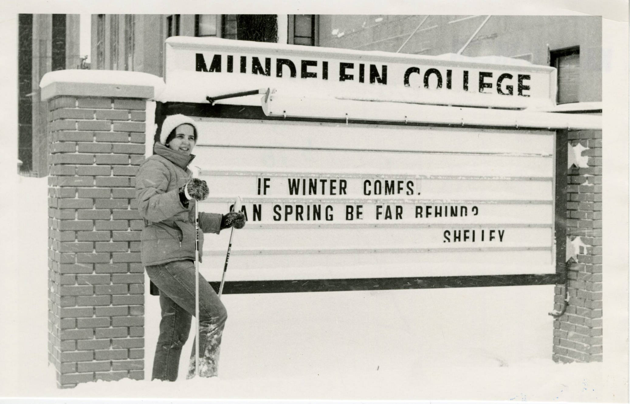 1979 Blizzard Blitz: Enjoying the snow at Mundelein.