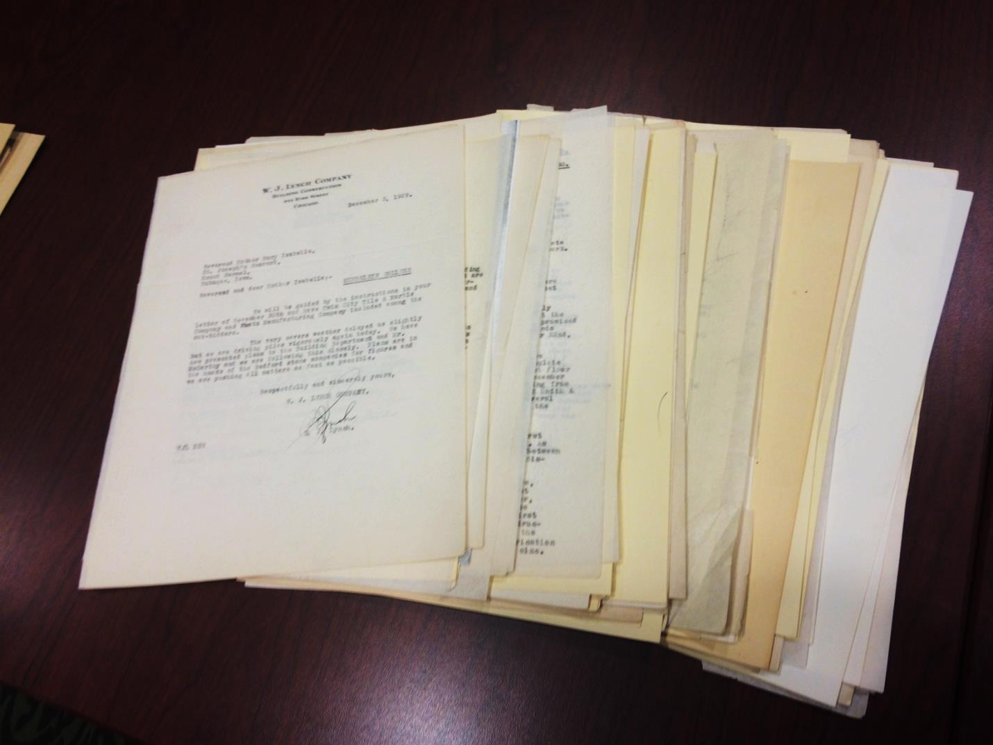 A few of the letters highlighting the construction of Mundelein College