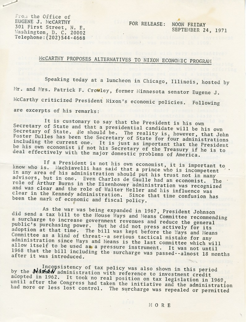 Press release about a speech by McCarthy at a luncheon hosted by Pat and Patricia Crowley