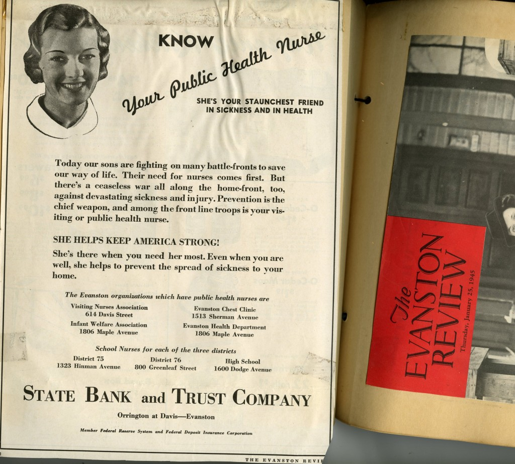 The VNA North collection includes several scrapbooks filled with clippings about the association and local health news. This scrapbook page contains a World War II era ad promoting public health nurses, such as the visiting nurses of VNA North.