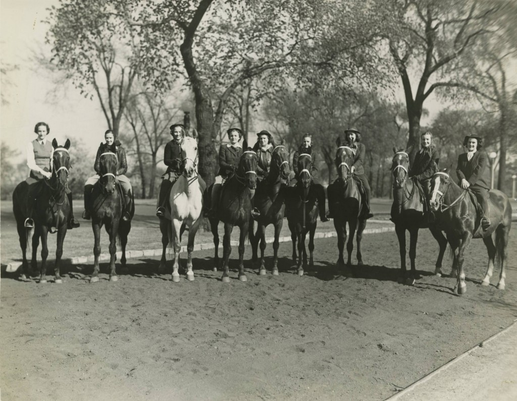 Students on Horseback, 1938. Mundelein Photograph Collection