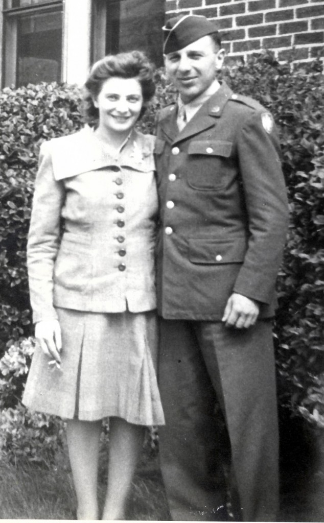 Mollie and Carl Lieber met while working for a newspaper and were married in 1940. Carl volunteered for the Army in 1943.
