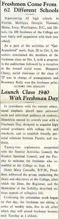 Skyscraper newspaper clipping from 1936 highlighting the freshman class