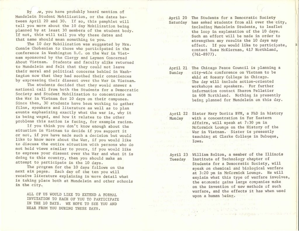 Two pages from the Student Mobilization invitation, April 1968