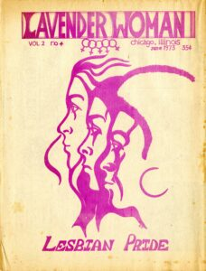 Cover page of Lavender Woman (Vol 2. No.4) featuring illustrations of the profiles of three women in purple