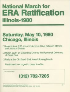 """National March for ERA Ratification Illinois-1980"" flyer."